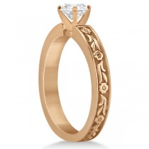 Hand-Carved Flower Design Solitaire Engagement Ring in 14k Rose Gold