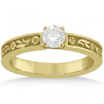 Hand-Carved Flower Design Solitaire Engagement Ring in 14k Yellow Gold