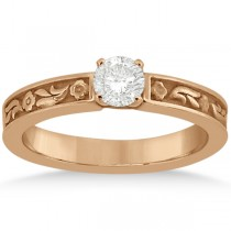 Hand-Carved Flower Design Solitaire Engagement Ring in 18k Rose Gold