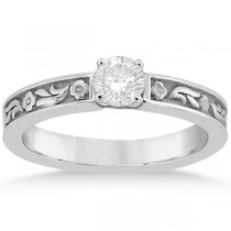 Hand-Carved Flower Design Solitaire Engagement Ring in Palladium