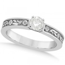 Hand-Carved Flower Design Solitaire Engagement Ring in Platinum