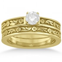 Carved Eternity Flower Design Solitaire Bridal Set in 14k Yellow Gold
