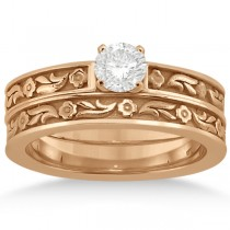 Carved Eternity Flower Design Solitaire Bridal Set in 18k Rose Gold