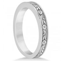 Carved Eternity Flower Design Solitaire Bridal Set in Platinum