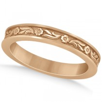 Hand-Carved Eternity Flower Design Wedding Band in 14k Rose Gold