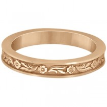 Hand-Carved Eternity Flower Design Wedding Band in 18k Rose Gold
