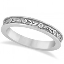 Hand-Carved Eternity Flower Design Wedding Band in 18k White Gold