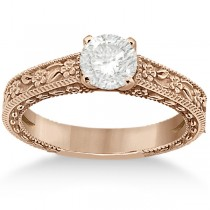 Carved Flower Solitaire Engagement Ring Setting in 14K Rose Gold