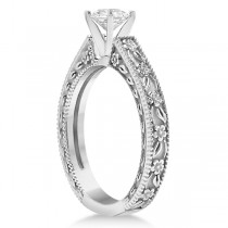 Carved Flower Solitaire Engagement Ring Setting in 14K White Gold