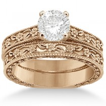 Carved Floral Wedding Set Engagement Ring & Band 14K Rose Gold