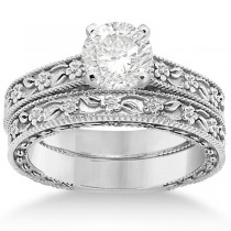 Carved Floral Wedding Set Engagement Ring & Band 14K White Gold