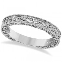 Carved Floral Designed Wedding Band Anniversary Ring in 18K White Gold