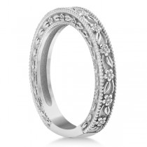 Carved Floral Designed Wedding Band Anniversary Ring in 18K White Gold|escape