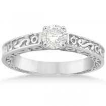 Hand-Carved Infinity Design Solitaire Engagement Ring 14k White Gold