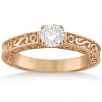 Hand-Carved Infinity Design Solitaire Engagement Ring 18k Rose Gold