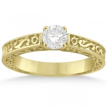 Hand-Carved Infinity Design Solitaire Engagement Ring 18k Yellow Gold