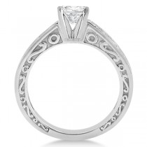 Hand-Carved Infinity Design Solitaire Engagement Ring Palladium