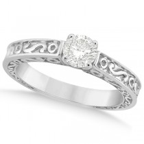 Hand-Carved Infinity Design Solitaire Engagement Ring Platinum