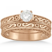 Hand-Carved Infinity Filigree Solitaire Bridal Set in 14k Rose Gold