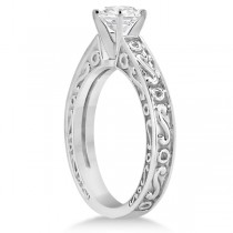 Hand-Carved Infinity Filigree Solitaire Bridal Set in 14k White Gold