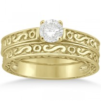 Hand-Carved Infinity Filigree Solitaire Bridal Set in 14k Yellow Gold