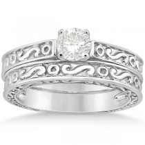 Hand-Carved Infinity Filigree Solitaire Bridal Set in Platinum