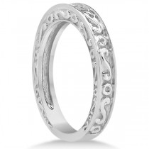 Hand-Carved Infinity Design Filigree Wedding Band in 18k White Gold|escape