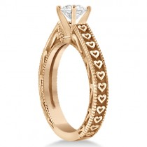 Solitaire Engagement Ring Setting with Carved Hearts 14K Rose Gold|escape