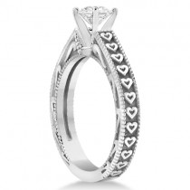 Solitaire Engagement Ring Setting with Carved Hearts in Palladium
