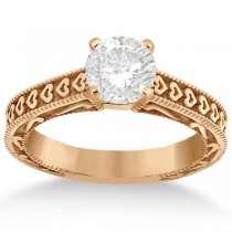 Carved Engagement Ring with Wedding Band Bridal Set in 14K Rose Gold