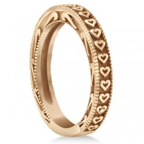 Carved Heart Wedding Ring Ladies Bridal Band Crafted in 14K Rose Gold