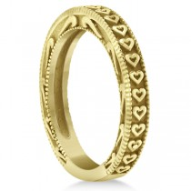 Carved Heart Wedding Ring Ladies Bridal Band Crafted in 14K Yellow Gold