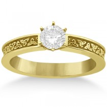 Carved Celtic Solitaire Engagement Ring Setting in 18K Yellow Gold