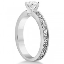 Carved Celtic Solitaire Engagement Ring Setting in Platinum