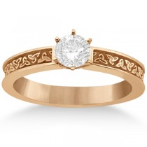 Carved Irish Celtic Engagement Ring & Wedding Band Set 14K Rose Gold