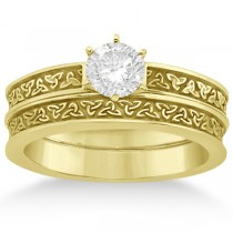 Carved Irish Celtic Engagement Ring & Wedding Band Set 14K Yellow Gold