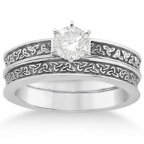 Carved Irish Celtic Engagement Ring & Wedding Band Set 18K White Gold