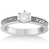 Carved Irish Celtic Engagement Ring & Wedding Band Set Platinum
