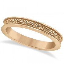 Unique Carved Irish Celtic Wedding Band in 14K Rose Gold
