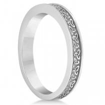 Unique Carved Irish Celtic Wedding Band in 14K White Gold