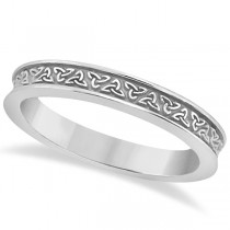 Unique Carved Irish Celtic Wedding Band in 18K White Gold