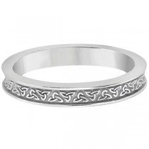 Unique Carved Irish Celtic Wedding Band in Platinum