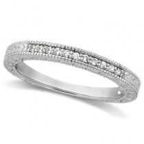 Antique Style Pave Set Wedding Ring Anniversary Band Platinum (0.30ct)