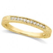 Antique Style Pave Set Wedding Ring Band 14k Yellow Gold (0.30ct)