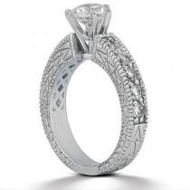 0.20ct Antique Style Diamond Accented Engagement Ring Setting Platinum