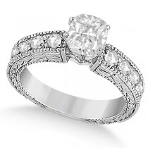 Cushion-Cut Diamond Vintage Engagement Ring 14k White Gold (1.75ct)