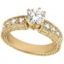 Vintage Heirloom Round Diamond Engagement Ring 14k Yellow Gold (1.75ct)