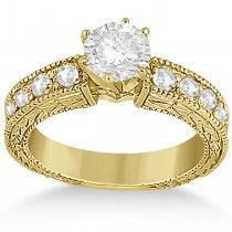 0.70ct Vintage Style Diamond Engagement Ring Setting 14k Yellow Gold