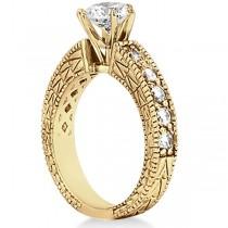 Vintage Heirloom Round Diamond Engagement Ring 14k Yellow Gold (1.00ct)