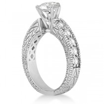 Vintage Heirloom Round Diamond Engagement Ring 18k White Gold (1.00ct)